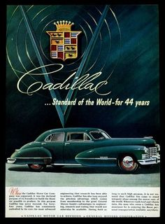 1942 Cadillac blue-green sedan car art vintage print ad
