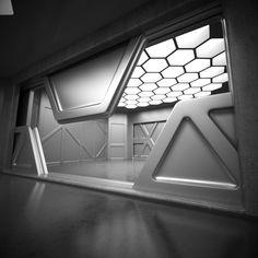 Sci Fi Interior Model on Behance Spaceship Interior, Futuristic Interior, Estilo High Tech, Sci Fi Environment, Interior Architecture, Interior Design, Stage Design, Set Design, Science Fiction Art