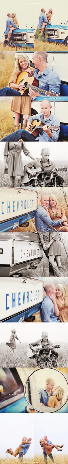 Cute engagement photos.. idk what to use instead of a guitar and it would be a ford instead of chevy