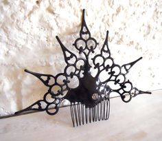 Goth Neo Victorian Hair Comb black Gothic clock by EJPcreations, $41.00