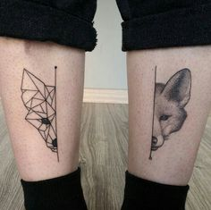 Geometric Blackwork fox tattoo half and half split