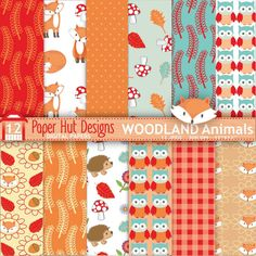 """Fall Woodland Animals Digital Papers-Autumn Forest Animals Digital Scrapbook Paper-Owl - Fox-Hedgehog. JPEG Digital. Perfect for scrapbooking, invitations, card making and all your creative craft projects. Suitable for Commercial or Personal Use  WHAT YOU WILL RECEIVE: High quality 300 dpi JPEG 12""""x 12"""" files. JPEG Suitable for all image programs. Ideal for digital and for printing  NO WATERMARKS ARE INCLUDED ON THE PURCHASED DIGITAL PAPERS   WHAT YOU CAN USE IT FOR: Scrapbooks/Digital S..."""