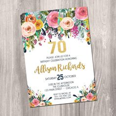 70th birthday invitation for women female adult surprise invite navy blue floral flowers watercolor digital gold foil boho printable
