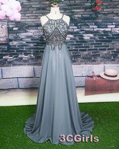 Vintage grey chiffon long beaded A-line prom dress for teens, bridesmaid dress, occasion dress #wedding #promdress -> http://www.3cgirls.com/#!product/prd1/4211346651/grey-long-beading-a-line-prom-dresses