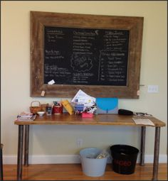 Chalkboard with barn wood frame.  You can use flat black paint for the chalkboard.