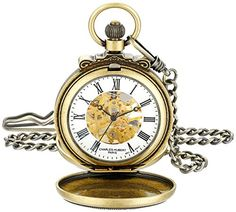 Charles-Hubert Paris 3866-G Classic Gold-Plated Antiqued Finish Mechanical Pocket Watch ** Read more reviews of the product by visiting the link on the image.