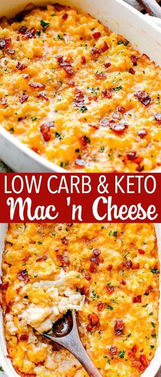 Keto Mac and Cheese! If youve been missing your favorite pasta dinners I have got one delicious and healthier solution for you: Creamy ultra cheesy and super indulgent Keto Mac and Cheese prepared with cauliflower bacon and cheddar cheese! Diet Recipes, Cooking Recipes, Healthy Recipes, Recipes Dinner, Bacon Recipes Keto, Healthy Baking, Smoothie Recipes, Soup Recipes, Dinner Ideas