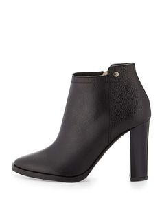Hart Grained Leather Ankle Boot, Black