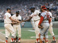 Carl Yastrzemski Celebrates With Teammates Jose Tartabull George Scott And Dalton Jones After Hitting A Three Run Home During Game 2 Of The 1967 World