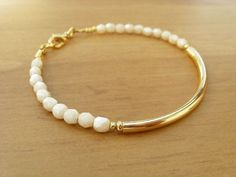 Champagne and Gold Bangle Bracelet, Beaded Friendship Bracelet, Gold Bracelet