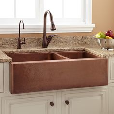 Buy the Signature Hardware 397528 Copper Direct. Shop for the Signature Hardware 397528 Copper Tegan Offset Double Basin Copper Farmhouse Sink with Small Bowl Right and save. Copper Farm Sink, Copper Farmhouse Sinks, Farmhouse Sink Kitchen, Copper Kitchen, Farmhouse Decor, Green Kitchen, Kitchen White, Copper Sinks, Turquoise Kitchen