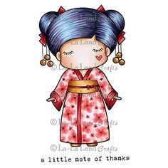 La-La Land Crafts - Rubber Cling Stamp - Paper Doll Marci - Kimono