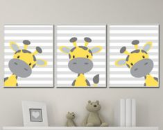 Giraffe Nursery Art Yellow Grey Gray Framed Set of 4 8x10