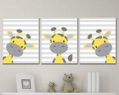 Giraffe Nursery Art Yellow Grey Gray Framed Set of 4 8x10