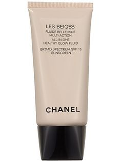 Base (foundation—tinted moisturizer): Chanel Les Beiges All-in-One Healthy Glow Fluid is everything you want in a tinted moisturizer: It provides light coverage, hydration, and a luminous sheen that seems to lift cheekbones