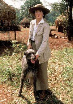 Meryl Streep as Karen Blixen on set of 'Out of Africa' with a beautiful Scottish Deerhound Meryl Streep, Top 100 Films, Karen Blixen, The Iron Lady, Scottish Deerhound, In And Out Movie, Film Base, Out Of Africa, British Colonial