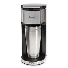 Balance a busy lifestyle with your need for fresh, hot and flavorful coffee with the Capresso On-the-Go Personal Coffee Maker. Unit allows you to quickly brew coffee directly into the included vacuum-insulated stainless steel thermal travel mug.