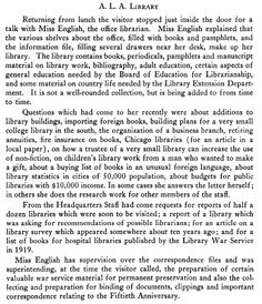 1927: A description of the ALA Headquarters Library in 1927. Gladys English leaves ALA shortly afterward to become a librarian at Piedmont (Calif.) High School.
