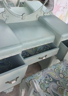 My first furniture sale!  1940's (maybe early 50's) Bassett Waterfall vanity with original mirror and chair.  Finished in Annie Sloan Duck Egg Blue and Old Ochre  #chalkpaint