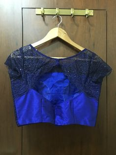 Blue lace blouse with scallop back and sleeves  ₹ 2200/- To book mail at drapemegold@gmail.com Whatsapp : 9892009060