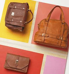Think Bright: Cognac against corals makes these bags pop!