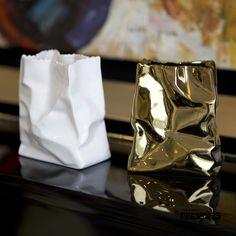 Vase in paperbag shape .
