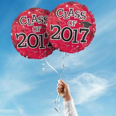 """Includes 2 Red 17"""" round Class of 2017 graduation foil balloons. """"Class of 2017"""" is printed on both sides of the balloons. Use balloons for your graduation party centerpieces or balloon bouquets."""