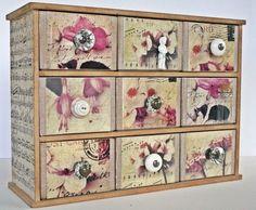 Altered drawers using Darkroom Door - Art De Fleur Photochips.