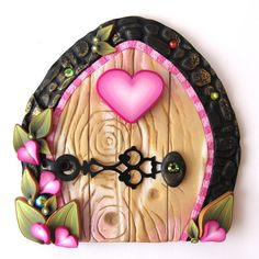Cottage Pink Heart Fairy Door Pixie Portal by Claybykim on Etsy, $20.00