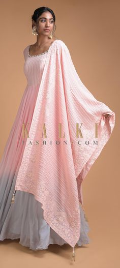 Powder Pink And Blue Shaded Anarkali Suit With Thread Embroidered Bodice And Dupatta Online - Kalki Fashion Indian Gowns Dresses, Indian Fashion Dresses, Dress Indian Style, Indian Designer Outfits, Pakistani Dresses, Indian Anarkali, Pink Dress Outfits, Party Wear Dresses, Wedding Dresses