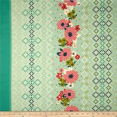 Vintage looking fabric (red,yellow, turquoise)
