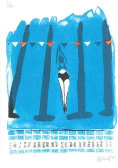 Swimming pool screenprint by emmashoard on Etsy