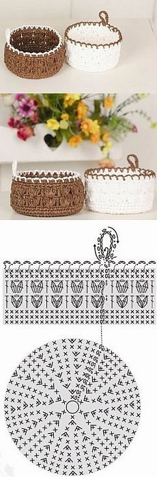 """New Cheap Bags. The location where building and construction meets style, beaded crochet is the act of using beads to decorate crocheted products. """"Crochet"""" is derived fro Crochet Bowl, Crochet Basket Pattern, Crochet Diagram, Crochet Chart, Crochet Stitches, Crochet Patterns, Crochet Baskets, Blanket Crochet, Crochet Designs"""