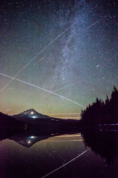 This is a beautiful night sky Perseid Meteor Shower - Trillium Lake, Mt. Trillium Lake, Into The West, Meteor Shower, Look At The Stars, To Infinity And Beyond, Out Of This World, Nocturne, Night Skies, Sky Night