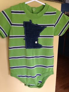 Minnesota Baby Onesie ~ Denim MN Appliqué ~  Garanimals Brand size 18 Months ~  Green Striped Upcycled MN Onesie - Cute!! by ArtThatCooks on Etsy