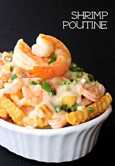 unbelievably easy Shrimp Poutine recipe takes less than 30 minutes to put together. The cheese sauce alone is worth making this for! Shrimp Dishes, Shrimp Recipes, Fish Recipes, Potato Recipes, Barbecue Recipes, Fish Dishes, Salmon Recipes, Bread Recipes, Poutine Recipe