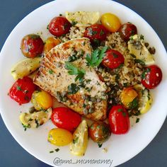 cherry tomatoes, capers, garlic and lemon. Ready in under 20 minutes and a deliciously light and healthy meal. Drizzle a little olive oil and season the swordfish steak with salt and pepper and grill or pan sear about 5 mins each side. Remove fish from pan and set aside to rest. Add cherry tomatoes and 2 finely