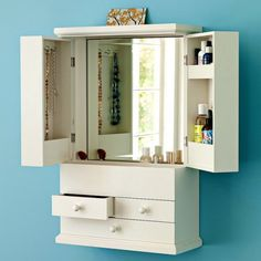 33 Cool Makeup Storage Ideas | Shelterness  This could be the perfect way to organize :) pretty and hide