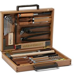 Brown Tool Kit in Wood Case Wooden Tool Boxes, Wood Boxes, Wood Tool Box, Wood Projects, Woodworking Projects, Custom Woodworking, Anniversary Ideas For Him, Home Tools, Tool Storage