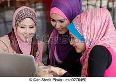 Banco de imagem - cabeça, mulher,  laptop, muçulmano, jovem, usando,  café, amigos, echarpe - banco de imagens, fotos royalty free, banco de imagens, estoque fotográfico, fotos, gráfico, gráficos