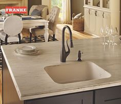 The Franke Tulip faucet paired with a granite undermount sink give this kitchen island added functionality. Granite Kitchen, Kitchen Sink, Kitchen Island, Undermount Sink, Sink Faucets, Franke Sink, Little Kitchen, Stainless Steel Sinks, Your Design