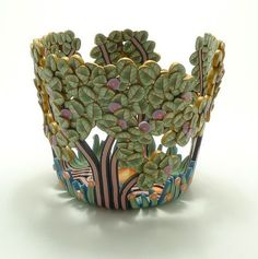 Polymer clay vessel by Emily Squires Levine. Polymer clay bowl, floral vase, polymer clay leaf, leaves, trees, tree brunch, home decor, polymer clay art