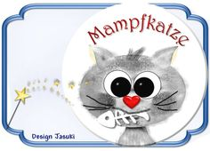 Button Katze Mampfkatze, 43 mm von Jasuki auf DaWanda.com