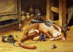 Сказочные коты от художника Александра Маскаева