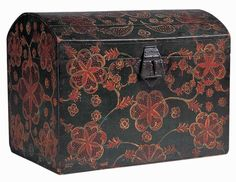 BLACK DOME-TOP STORAGE BOX Artist unidentified Lancaster or Lancaster County, Pennsylvania c. Paint on poplar, with sheet-tin hasp and hardware 11 x 14 x 10 in. Painted Trunk, Painted Chest, Painted Boxes, Hand Painted Furniture, Art Furniture, Antique Furniture, Primitive Furniture, Country Furniture, Antique Chest