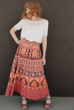 Vintage 70's INDIAN Wrap Skirt MAXI by moonchildvintage on Etsy