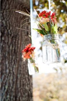 GREAT idea for the side of the deck and hanging from trees near where the ceremony will take place.
