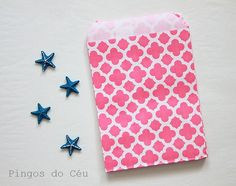 25 pcs  Moroccon Style  Pink Favor Paper Bags  by pingosdoceu