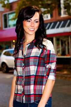Lace Shoulder Plaid Button Down #May23Online $36.00