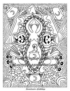 Coloring Page For Adults Samhain Halloween Goddess Pagan Witchcraft Art Altar Witch Witchy